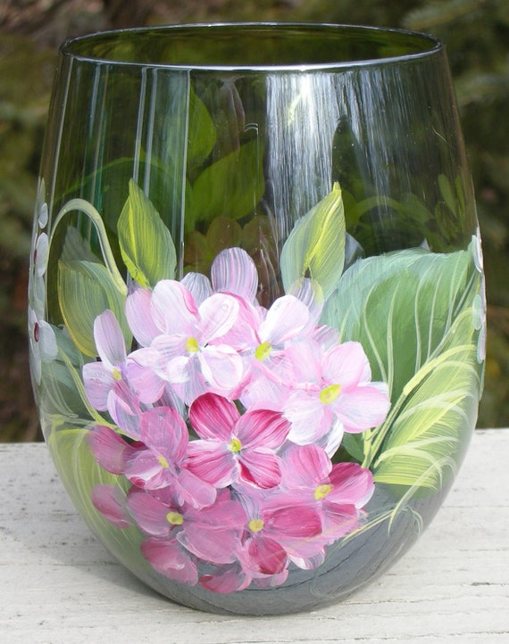 Items similar to pink white hydrangeas hand painted for Painted stemless wine glasses