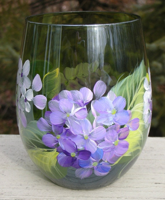 Items similar to purple white hydrangeas hand painted for Painted stemless wine glasses