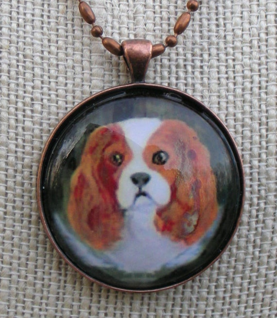 Cavalier King Charles Spaniel Pendant Original Art Necklace King Charles Painting