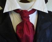 Cranberry Red Pure Dupioni SILK - FORMAL Victorian Ascot Tie Cravat