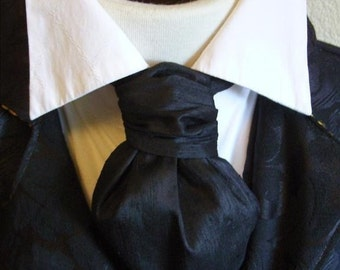FORMAL Victorian Ascot Tie Cravat - Midnight Black Dupioni SILK