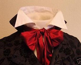 REGENCY Brummel Victorian Ascot Tie Cravat - Brilliant RED Dupioni Silk 3 inch width