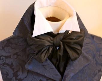 REGENCY Brummel Victorian Ascot Tie Cravat - Midnight Black Dupioni Silk