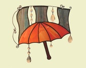 BLACK FRIDAY - Red Umbrella Stained Glass Suncatcher with Crystals