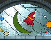 Transom Stained Glass Window Panel Boy Nursery - Space Odyssey - Blue Red Handmade OOAK