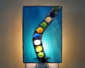 Night Light Blue Waterfall Stained Glass
