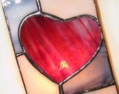 Stained Glass Night Light Patchwork Heart Handmade OOAK
