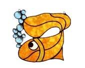 Lucky Gold Fish Stained Glass Suncatcher Sun Catcher Handmade OOAK