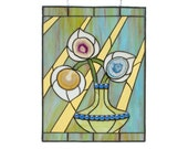 Blue Stained Glass Window Panel Blue Flowers Handmade Modern Green Yellow with Agate Geode Slices OOAK