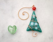 Christmas Tree Ornament Fused Glass Party Favor Handmade OOAK Green teal