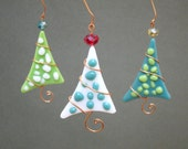 Christmas Tree Ornaments 3 Fused Glass Polka Dot Party Favor Green Teal