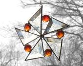 Stained Glass Suncatcher Orange Star Flower Snowflake