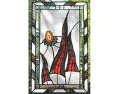 Agate Stained Glass Panel Window Fairytale Geode Slice Handmade OOAK