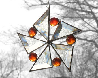 Stained Glass Suncatcher Orange Star Flower Snowflake