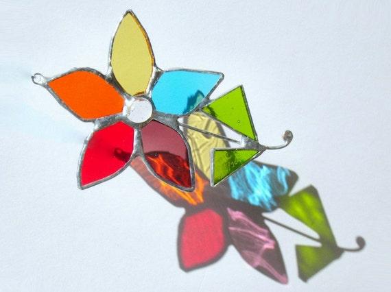 Rainbow Flower Stained Glass Suncatcher