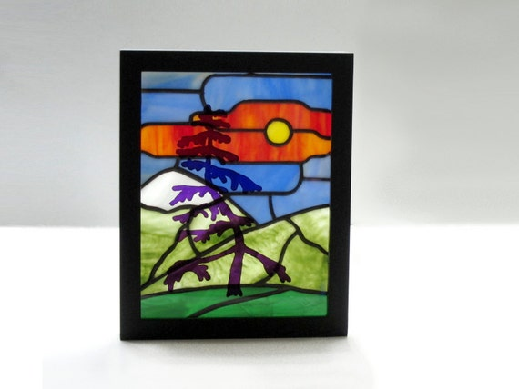 Stained Glass Panel Shadow Box Landscape Handmade OOAK - Mountain Pine