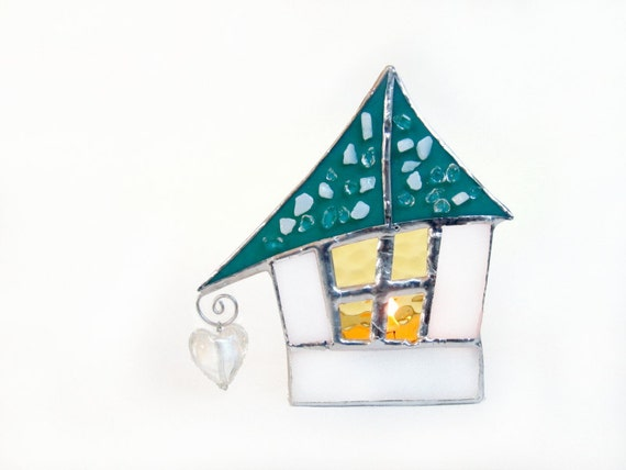 Stained Glass Christmas Candle Holder Tea Light Mint Cottage Votive Handmade OOAK