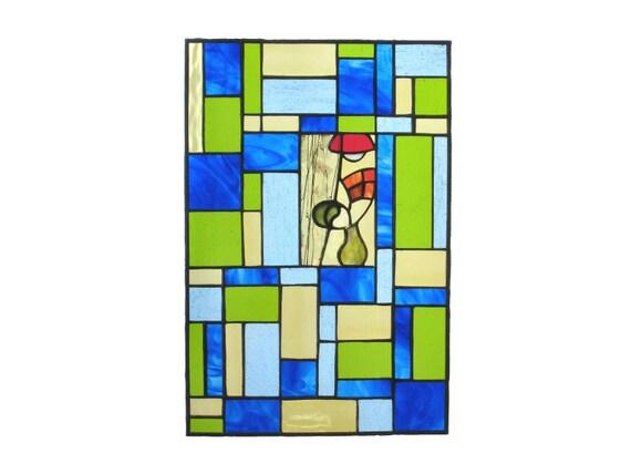 Stained Glass Window Panel Geometric Handmade OOAK Blue Green Modern