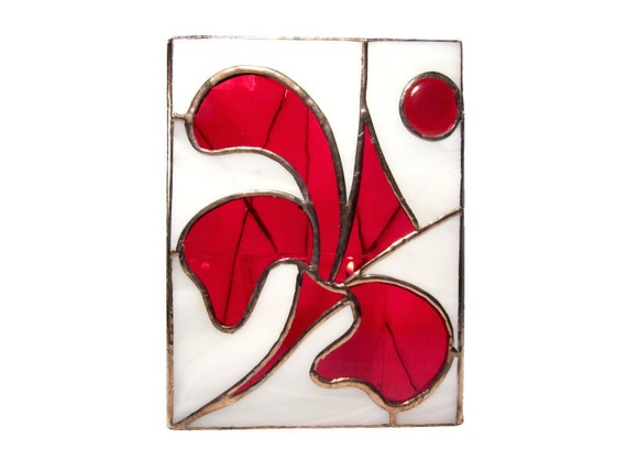 Hurricane Candle Holder Stained Glass Large Red Flower Handmade OOAK