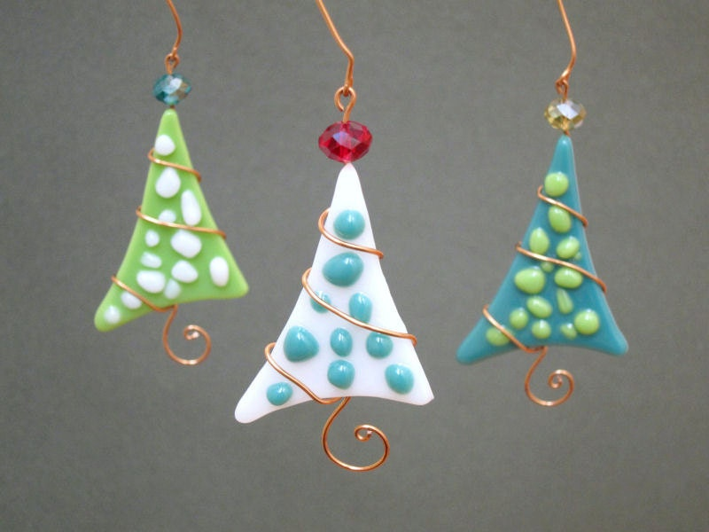 Christmas tree ornaments personalized fused glass polka dot