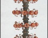Brown Lampwork Glass Disc Beads, FREE SHIPPING, Handmade Lampwork Bubble Glass Beads, Earrings Set - Rachelcartglass