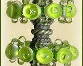 Grass Green Lampwork Glass Beads, Handmade Bubble Disc  Beads Set (6)
