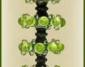 Grass Green Lampwork Glass Beads, FREE SHIPPING, Supplies of Handmade Lampwork Bubble Disc Beads - Rachelcartglass