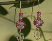 Magenta Long Earrings, Handmade Dangling Lampwork Glass Beads Earrings with Goldfilled Hook