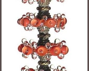 Soft Red Lampwork Glass Disc Beads, FREE SHIPPING, Handmade Bubble Spacers Glass Beads, Earrings Set - Rachelcartglass