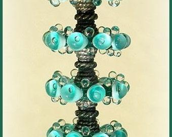 Teal Lampwork Glass Beads, FREE SHIPPING, Handmade Lampwork Glass Bubble Disc Beads - Rachelcartglass