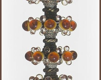 Deep Amber Glass  Beads, FREE SHIPPING, Handmade Lampwork Bubble Disc Beads Set