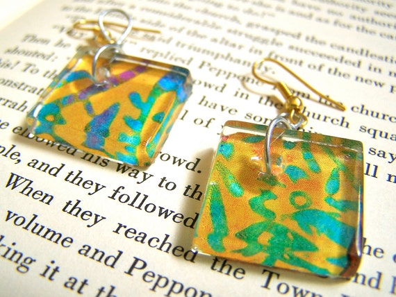 Earrings. Eco Friendly, Hypoallergenic, Magazine, Tie-dye, Glass, Recycled, Yellow. Upcycled Jewelry by AnotherUse