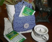 Lilac Tea Sachet Organic Cotton Purse Travel Pouch Crocheted Business ID Holder FREE SHIPPING