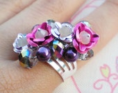 Reserved for Bin Ru - aluminum roses, Swarovski crystals and pearls ring