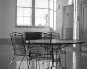 Train station Photography travel urban meeting holiday amtrak black white chairs empty waiting area travel Familiar faces - fine art photo