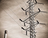 Industrial Photography urban man cave studio art sepia circuits electricity power lines generator linear - Electric Avenue - fine art photo