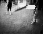 Abstract New York City Photograph minimalist NYC advance subway series feet walk motion movement black white - Two steps - fine art photo