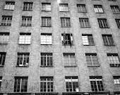 Portland Photography urban landscape apartment living windows flat oregon closed open black white - The search for fresh air- fine art photo