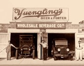 Vintage beer Photograph c. 1934 antique PA brewery prohibition pub lager man cave decor dad Yuengling - America's Oldest Brewery, est. 1829