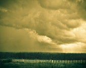 Rustic Field Photography minimalist dust bowl depression wizard of oz storm tornado - We are not in Kansas anymore - fine art photograph