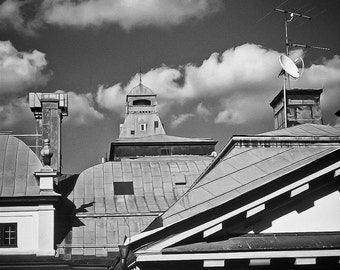 Stockholm Photography Sweden chimney clouds lines cupola tile black and white travel mary poppins - Rooftop dreams - fine art photograph
