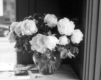 Bouquet flowers Photography roses blooms peonies vase black white floral decor gift wedding love - Quiet calm - fine art photograph