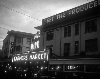 Urban seattle Photography pikes place farmers market black white coffee northwest neon downtown - Come one, come all - fine art photograph