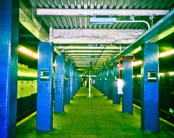 NYC subway Photography New York City east side manhattan east village blue green underground tunnel royal lime - 2 Avenue - fine art photo