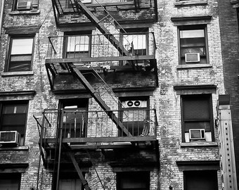 Industrial NYC Photography urban city scene decor nyc flat studio apartment windows fire escape new york - Landing - fine art photograph