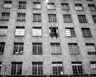 Portland Photography urban landscape apartment living windows flat oregon closed open black white - The search for fresh air- fine art photo