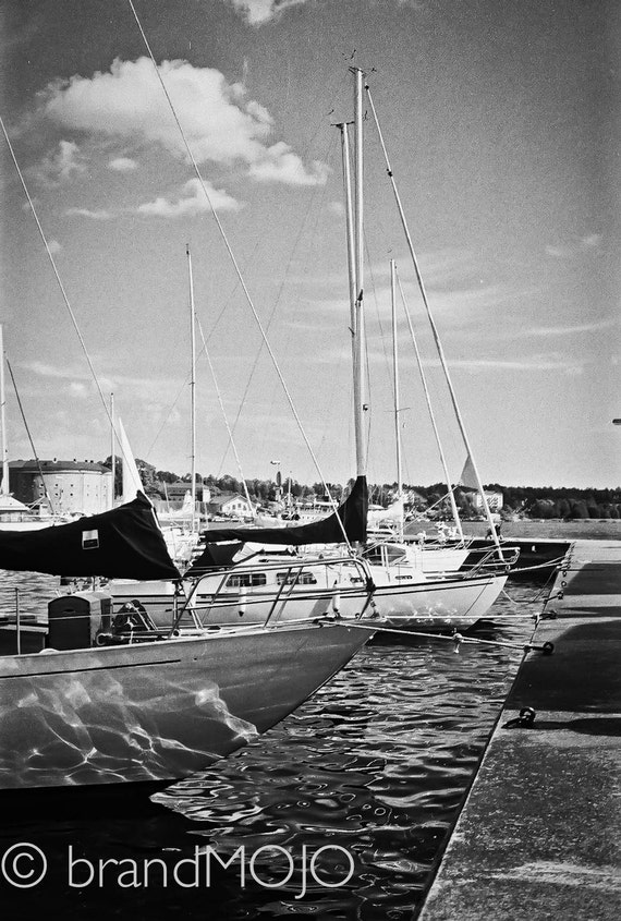 Sailboat Photography boats beach house art Sweden Stockholm Baltic Sea port ripples water cape river - Stern reflections - fine art photo
