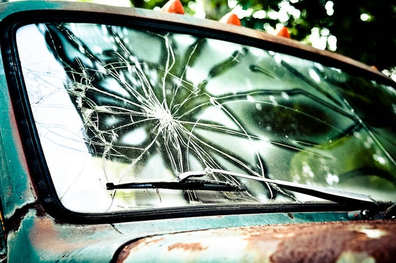 Broken windshield Photography glass busted shattered window truck teal rusty green lamps gmc - Ballad of a lost man - fine art photograph