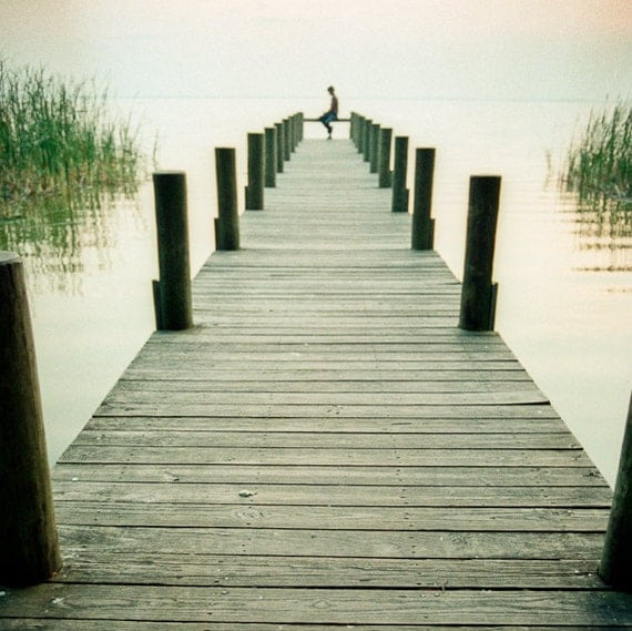 Serene Photography sitting dock green water lake solo perspective shabby chic florida solace celery - Serenity - square fine art
