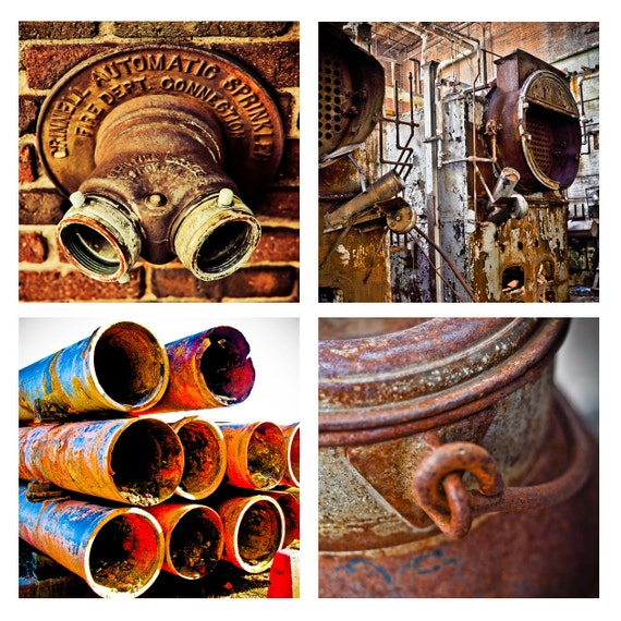 SALE Set of 4 Industrial Images steampunk rusty boiler room old milk can pipes sprinkler red blue factory gritty old fine art photo 5x5